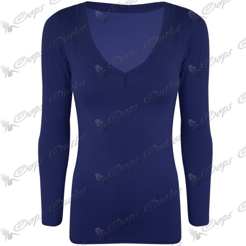 Damen Top, V-Ausschnitt, Jersey, Stretch, Casual Tee T Shirt Long Sleeves Turquoise - Bodyhug Slim Fitted Tight Fit