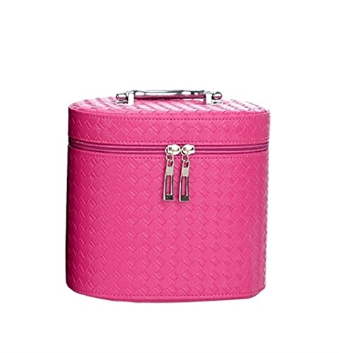 Borse personalizzate Cosmetic Bag Alta - Ladies Grade rotonda Barrel bella make - up Borsa Grande - Capacità di stoccaggio pacchetto mano impermeabile - Held Caso Cosmetics pratico ( colore : Rose red )