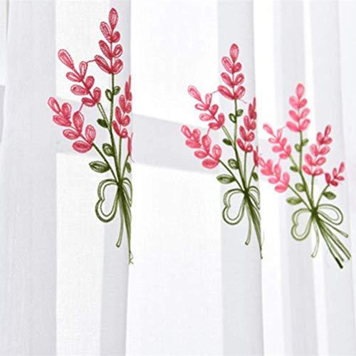 2 Stücke Verdunkelungsvorhänge Voile Vorhang mit Ösen Transparent Gardine Ösen plissiert zwei Panele Window Treatment für Gardinenstange,Pink,200 * 270/2