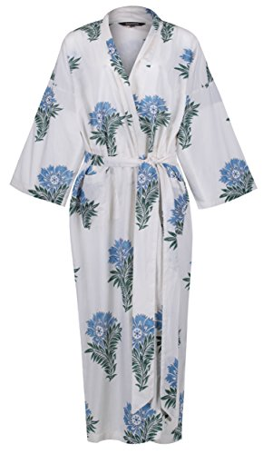 23d245e219 Susannah Cotton Ladies Lightweight Cotton Dressing Gown - Women s Kimono  Robe - 100% Cotton. Hand-Printed With Natural Dyes  Wild Flower.