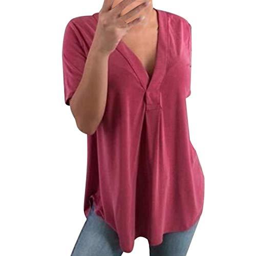 Routinfly Nue 2019 Damen Solide V-Ausschnitt Tops,Frauen Mode Sommer Kurzarm Beiläufige Lose T-Shirt Bluse Hemd Pullover Tunika (Weste Stricken Rippe)