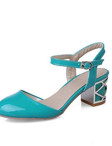WSS 2016 Chaussures Femme-Bureau & Travail / Décontracté-Bleu / Rose / Blanc-Gros Talon-Confort / Bout Arrondi-Talons-Cuir Verni white-us5 / eu35 / uk3 / cn34