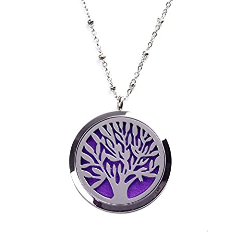 M.JVisun Tree of Life Wearable Perfume Essential Oil Diffuser Necklace - Best Gift - Aromatherapy Jewelry - Anti-allergy Surgical Stainless Steel Locket Pendant + 24
