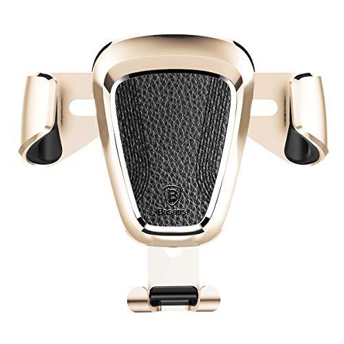 WYUE Car Phone Holder, Gravity Universal Air Vent Phone Mount Stable Car Cradle 360 ° Adjustable für Telefon X/8/7/6s/Plus, Galaxy S9/S7 Edge,Gold -