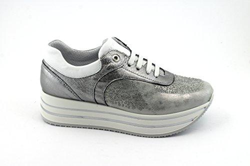 IGI&CO 1155600 Acciaio Grigio Scarpe Donna Sneakers Lacci Pelle Platform Grigio