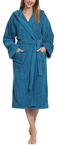 Ladeheid Damen Frottee Bademantel aus 100% Baumwolle LA40-102(Jeans (D03), M) (Damen Frottee)