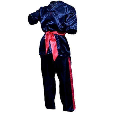 KarnevalsTeufel Kampfsportanzug Karateka Kostüm Karateanzug schwarz inkl. Zwei Bänder Uwagi Zubon Stirnband Gürtel rot schwarz ()