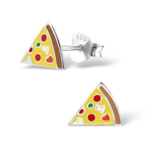 Süße Pizza-Ohrringe Mädchen Kinder Silber Ohrstecker Stering Silber -