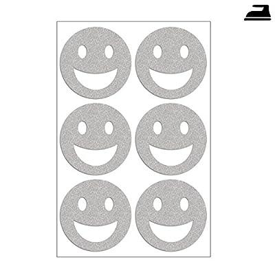 Smiley Set mit 6 reflektierenden Smileys, Bügelbilder reflektierend im Set mit sechs Smileys, Sichtbarkeit & mehr Sicherheit bei Dunkelheit und im Straßenverkehr