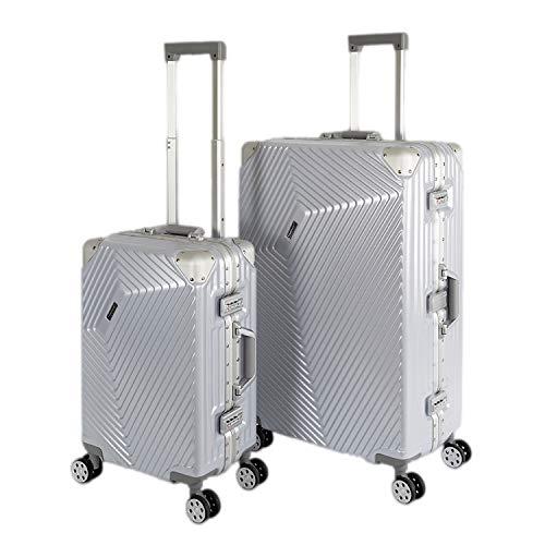 Weißer Aluminium-rahmen (Travelhouse Roma Koffer Set perlmut weiß S-55cm + L-77cm · Alu Rahmen · Polykarbonat Hartschale · Reisegepäck Reisetrolley Trolley · Je 2X TSA Zahlenschloss · 44L + 108L)