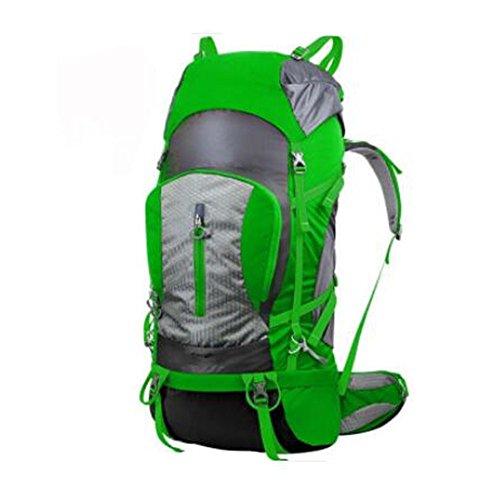 GOUQIN Zaino Outdoor Classico Moda Arrampicata Outdoor Un Backpacking Trip Camping 70L Dual Borsa A Tracolla, Verde Verde