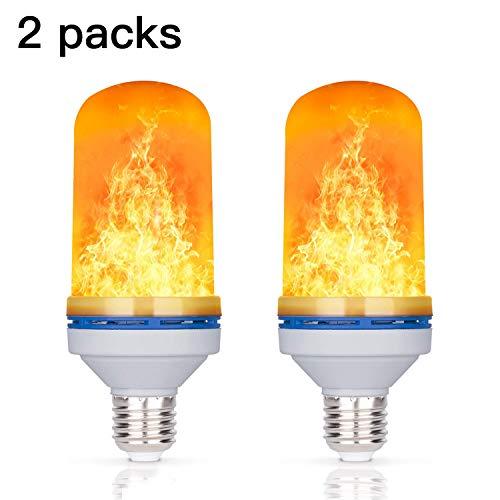4W LED Flamme Effekt Glühbirne, YuamMei 4 Modi mit dem Kopf, E27 Basis Dekoration Flackerndes Feuer Licht für Halloween/Weihnachten/Zuhause/Bar/Restaurant/Party (2 Packs)