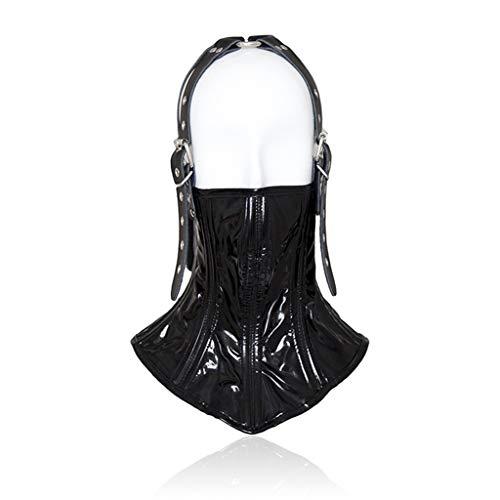 Hals Cover Lackleder Kapuze Bindung Bondage Maske Cosplay verbindliche Maske Unisex Gimp Maske, Halloween Maskerade Maske Universal