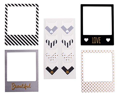 rahmen und Fotoecken, Glam, Papier, selbstklebend, 4 Designs, 8 Fotorahmen, 16 Fotoecken, Bilderrahmen ()