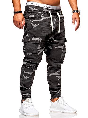 behype. Herren Camouflage Cargo Jeans-Hose Jogg 80-3188 (30, Camouflage Schwarz) - Camouflage Cargo Hose