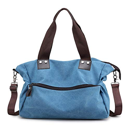 BIKCVA Bolsa de lona multifuncional para damas, almacenamiento duradero, alta calidad, moda, impermeable, portátil, bolso de compras, bolso, bolsa de mensajero, azul