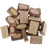 IPOTCH 20 Piezas Bloques de Madera de Árbol Accesorios para Niños, Modelos de Construcción, Manualidades, Juguetes