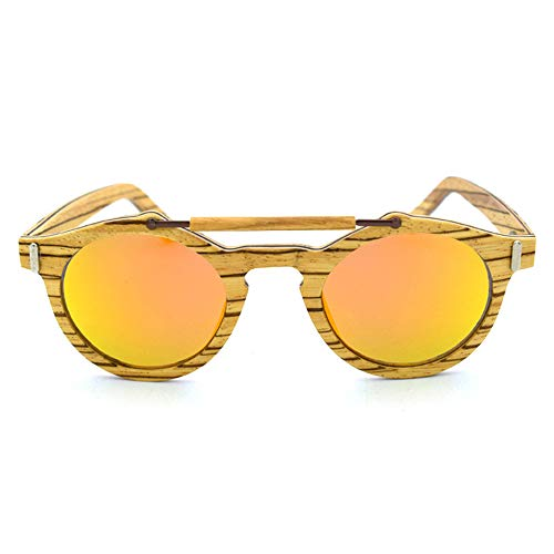 DelongKe Retro Sonnenbrille Rund,Federscharnier Für Herren Und Damen UV400 Schutz - Metallrahmen - Ideal Zum Autofahren Städtetoure,orange