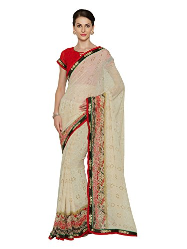 Oomph! Women's Printed Georgette Sarees - Linen White