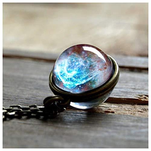 ZREAL Doppelseitige Glaskugel Anhänger Edelstein Universum Sternkette Halskette Schmuck Geschenke