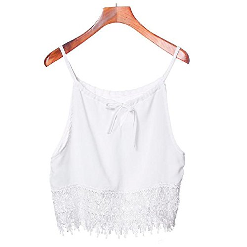 Camicetta,WINWINTOM Lace Donne Sexy Bianca Canotte Tops T-Shirt (S, Bianca)