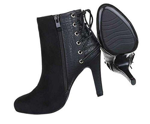 Damen Boots Stiefeletten Schuhe High Heels Schwarz Blau 36 37 38 39 40 41 Schwarz