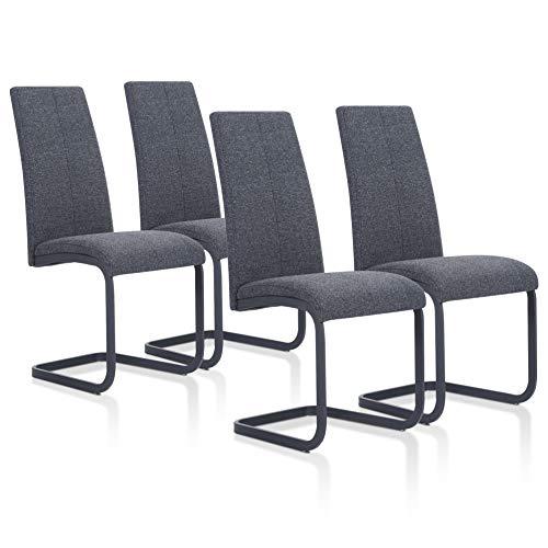 SuenosZzz - Pack sillas (x4) Ceres Color Gris, para Comedor o Salon| Tapizado en Tela | Sillas de Patas metalicas Color Negro| Conjunto de sillas Modernas | Muebles de Cocina