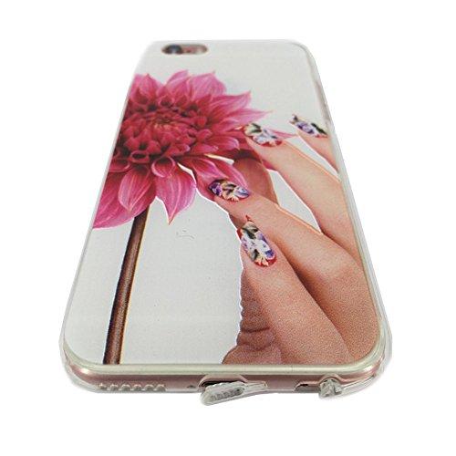 """CX iPhone 3S/iPhone 6, 4.7""""iPhone 6S Plus/iPhone 6Plus 14cm Étui de protection peint à la main Relief Gel TPU Coque arrière en silicone souple pour iPhone 3S/iPhone 611,9cm iPhone 6S Plus/iPhone  - Half Flower"""