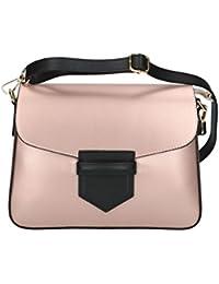 Bolsa mujer hombro con correa PIERRE CARDIN rosa en cuero Made in Italy N1088