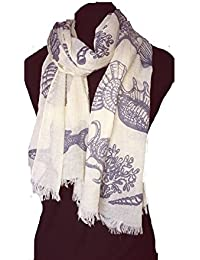 Cream with grey Shells, star fish, sea horse and fish under the sea long scarf with frayed edge.