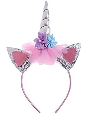 Baoblaze Cinta de Cabeza Flor Decorativo para Niñas Mágico Diadema Unicorno Cuerno Tocados de Fiesta Disfraz Princesa...