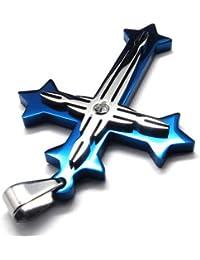 KONOV Schmuck Edelstahl Kreuz Anhänger mit 50-70cm Kette, Halskette für Herren, Blau Silber