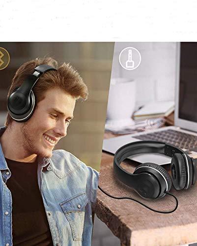 Over Ear Headset kabellos Faltbarer Bluetooth Kopfhörer 15 Stunden Spielzeit EQ Bass, 3,5 mm AUX, On-Ear Steuerung, Schwarz