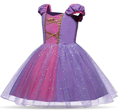 Tutu Rapunzel Kostüm - EMIN Kinder Mädchen Prinzessin Rapunzel Sofia Kleid Tutu Kostüm Verkleidung Geburtstag Party Ankleiden Karneval Faschingskostüm Halloween Hochzeit Festkleid Blumenmädchenkleid Abendkleid Brautjungfer