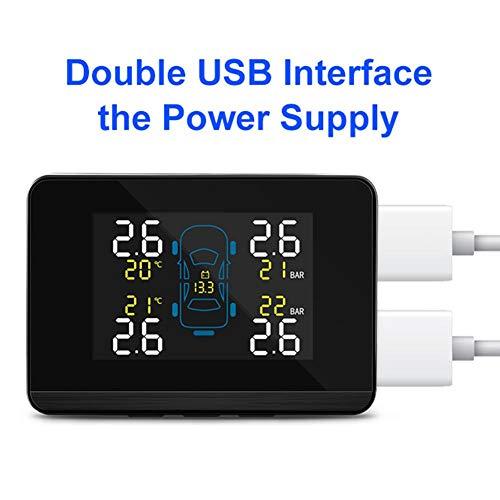 ATpart TPMS Sistemi di Monitoraggio della Pressione Pneumatici per Auto Display LCD a Colori Gomme per Ruote Universali Sensore di Monitoraggio del Sensore Esterno Rilevamento