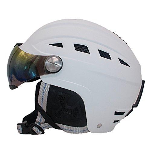 TEESIYN Helm mit Pc-Brille Männer Frauen Kinder Integral geformte Zertifizierung Sicherheit Ski Skating Ski Helm weiß M (56-58 - Vinyl-grafik-band