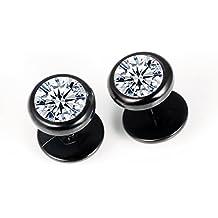 Faysting EU Dell'acciaio inossidabile di modo torta rotonda a forma di orecchini di diamanti uomini e donne di funghi