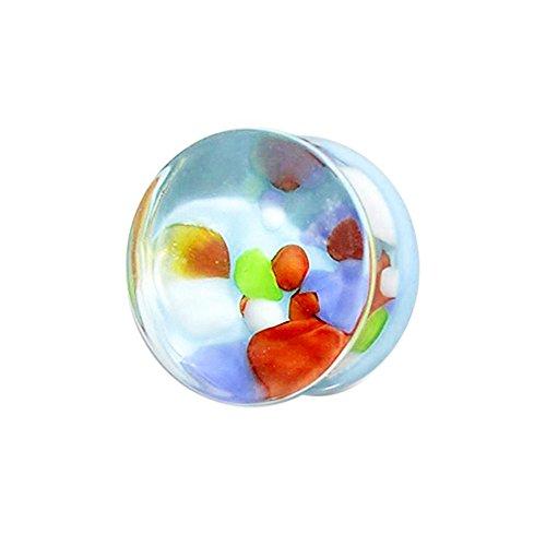 16MM Multi farbige Kiesel in Pyrex Glas Doppel ausgestellte Messgerät Ohr Piercing Plug (Billig-ohr-messgeräte)