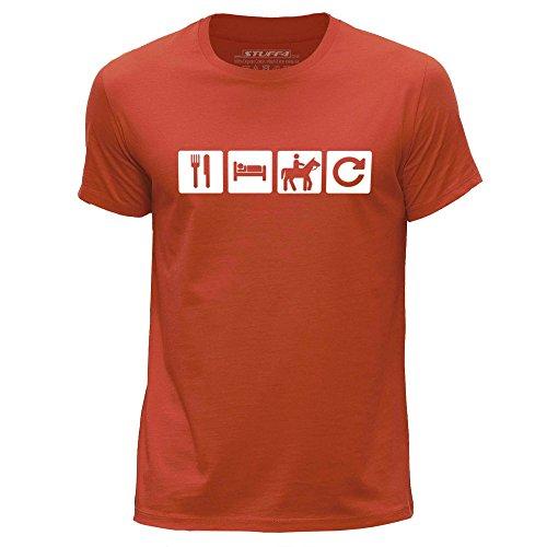 STUFF4 Uomo/Grande (L)/Arancia/Girocollo T-Shirt/Mangiare Sonno Cavalcata/Equitazione Ripetizione (Cavalcata Icona)