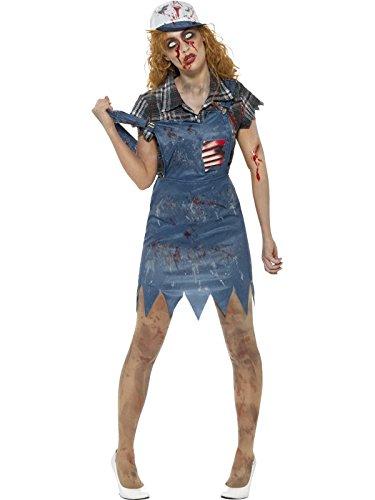 Smiffys, Herren Zombie Hinterwäldler Kostüm, Latzhose mit angebrachten Latex Rippen, Oberteil und Baseball Kappe, Größe: L, 46854 (Cap Rib)