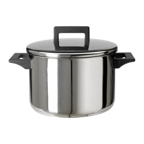 IKEA SNITSIG - Pot with lid, stainless steel - 5 l