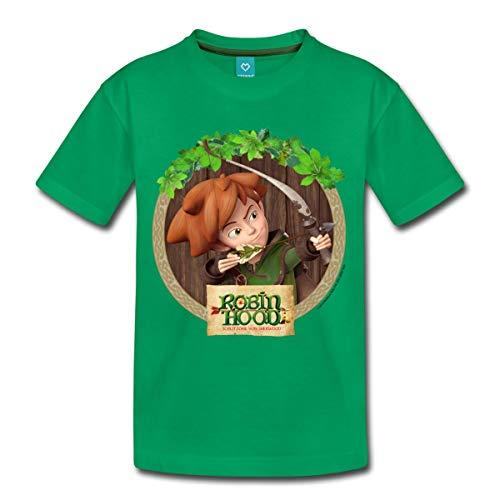Spreadshirt Robin Hood Schlitzohr Von Sherwood Porträt Kinder Premium T-Shirt, 122/128 (6 Jahre), Kelly Green