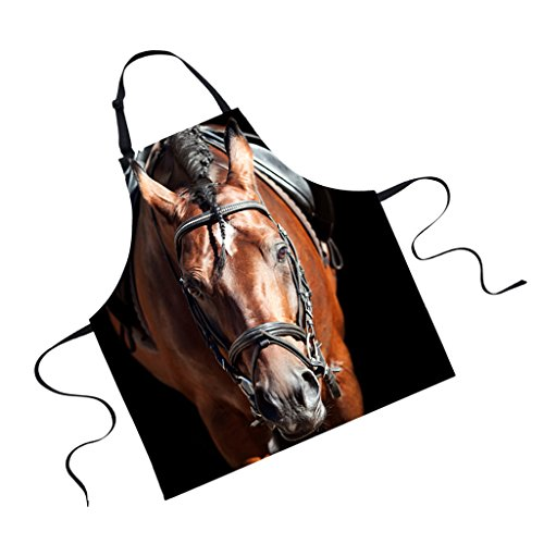 MagiDeal Schürze, Küchenschürze, Kochschürze, Grillschürze - Polyester, Tier Muster - Pferd