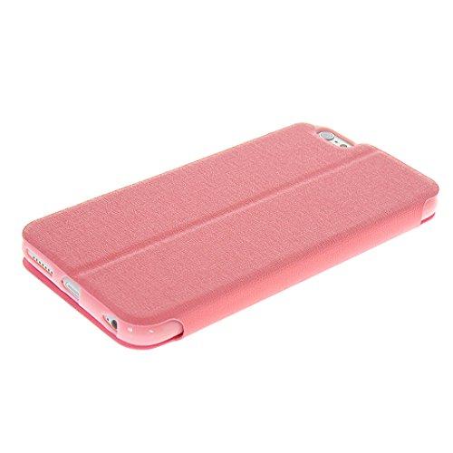 iPhone 6s Tasche Flip, Flip Case Hülle für iPhone 6 mit Sichtfenster (4.7 Zoll), Moon mood® PU Leder Flip Hülle für iPhone 6 / iPhone 6S mit Doppel Fenster Premium Bumper Backcover Handytasche Etui im Rosa