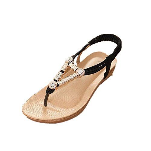 OVERMAL Summer Bohemia douces perles Sandales clip Toe Sandals Beach Chaussures plates Noir