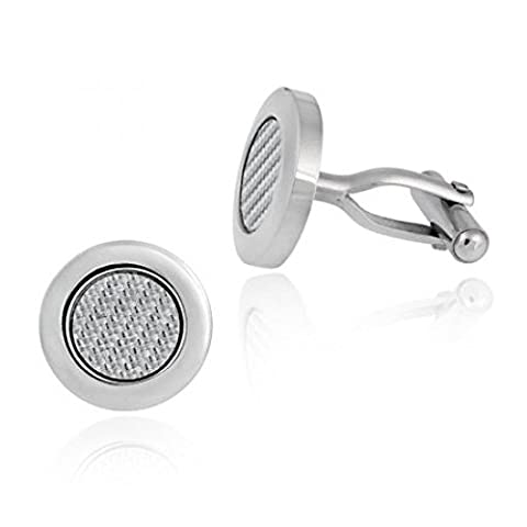 Stainless Steel Circle Woven Cuff Links