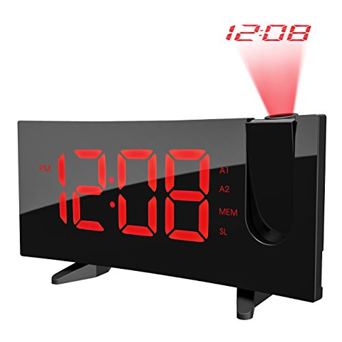 Pictek Projektion Wecker FM Radio Wecker 5' Großes LED Display Digital Wecker Uhren Funklicht Wecker mit 180° Flip Projektion Display Projektion Schlummerfunktion Dual Alarm USB CH