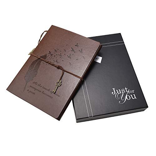 Xiujuan album fotografico con confezione regalo, pagine nere foto album portafoto per fotografie regali natale san valentino idee regalo di anniversario matrimonio compleanno, piuma marrone grande