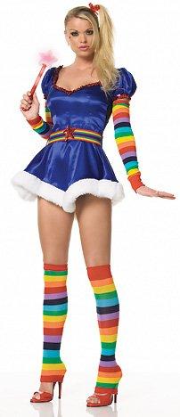 Kostüm Leuchtstäbe - Leg Avenue - Sexy Regenbogen Fee Kostüm - S - Blau - 83090
