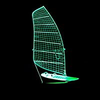 Wuqingren 3D Night Light Marine Ship Model Table Lamp 7 Color Changing Sailing Boat Light Fixture Home Decor Sleep Lighting,Remote and touch